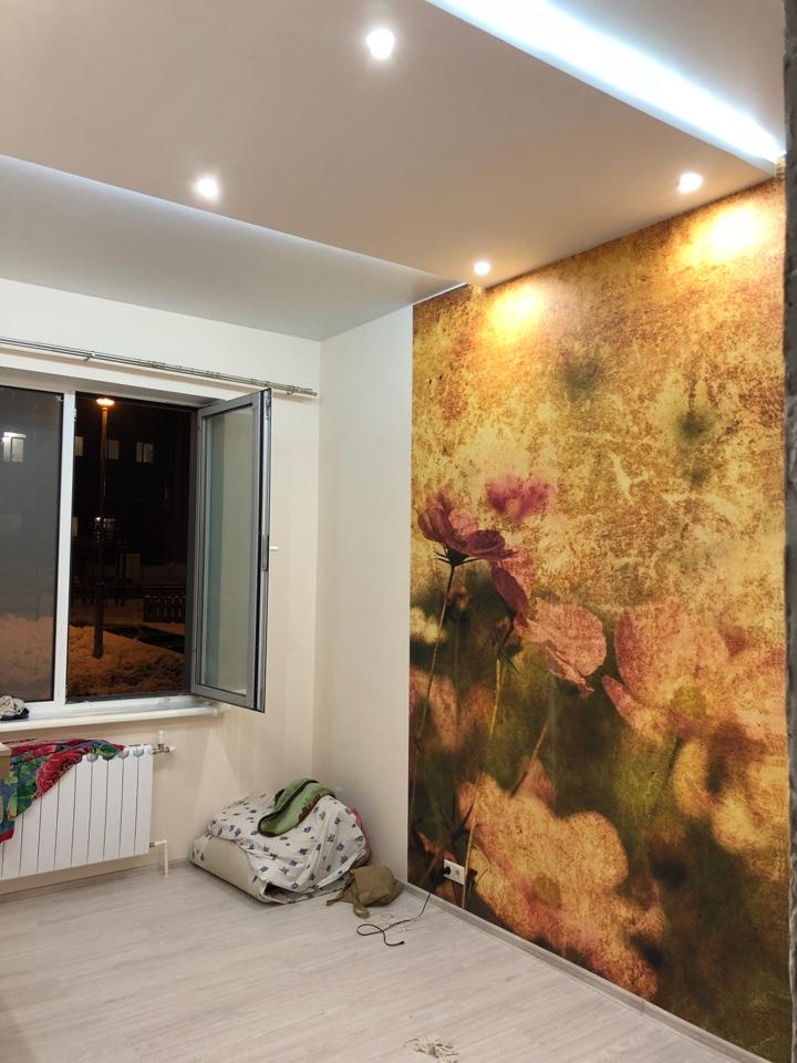фотообои и гкл потолок