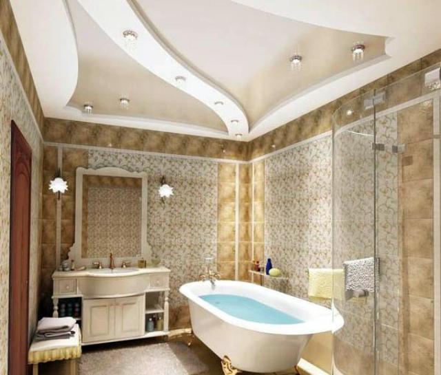 гипсокартонный потолок для ванной